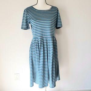 LulaRoe Carly Dress striped gray and blue Size L